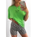 0543e0ed2366 USD$12.54; New Trendy SUCH CUTE Letter Angel Printed Short Sleeve Relaxed  Fit Green T-Shirt