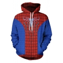 New Trendy Printed Long Sleeve Red and Blue Casual Drawstring Hoodie