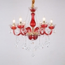 Candle Bedroom Chandelier Clear Crystal 6 Lights Kids Pendant Light with 12