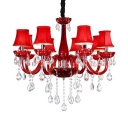 Candle Bedroom Chandelier Light Clear Crystal 8 Lights Kids Pendant Lighting Fixture in Red
