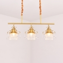 3/4 Lights Drum Chandelier Light Vintage Length Adjustable Metal Chandelier with Clear Crystal in Brass