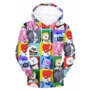 Cartoon Cute Boy Band 3D Printed Long Sleeve Casual Loose Drawstring Hoodie