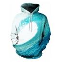 Men's Cool 3D Sea Wave Printed Long Sleeve Loose Fit Blue Drawstring Hoodie