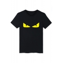 Novelty Monster Devil's Eye Pattern Round Neck Short Sleeves Leisure Unisex T-Shirt