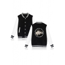 Popular American Singer Circle Letter Portrait Print Rib Collar Colorblock Varsity Baseball Jacket