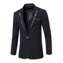Fashion Polka Dot Print Patchwork Single Button Long Sleeve Fitted Mens Business Wedding Suit Jacket