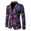 Vintage Ethnic Floral Print Double Button Notched Lapel Long Sleeves Split Back Mens Suit Blazer Coat