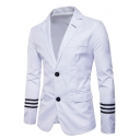Mens Trendy Striped Long Sleeve Double Button Notched Lapel Flap-Pockets Blazer Jacket