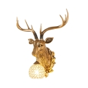 Rustic Elk Designed Wall Lamp 1 Light Clear Crystal Wall Light in White/Gold for Foyer