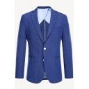 Simple Plain Notch Lapel Double Button Long Sleeve Linen Blazer Suit for Men