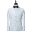 Fancy Floral Pattern Long Sleeve Notched Lapel Collar Double Button White Blazer Tuxedo Suit for Men