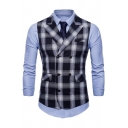 Men's Classic Plaid Pattern Peaked Lapel Buckle Back Double Breasted Suit Vest