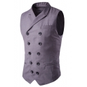 Men's Solid Peaked Lapel Buckle Back Double Breasted Slim Fit Suit Vest