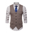 Mens Stylish Buckle Back Button Down Flap-Pockets Slim-Fit Waistcoat