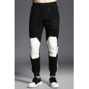 Mens Unique Color Block Logo Print Patchwork Drawstring Waist Zip Embellished Black Sport Sweatpants