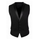 Mens Fashion Solid Buckle Back Single Breasted Slim Fit Tuxedo Vest