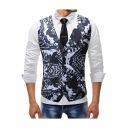 Men's Trendy Retro Printed Single Breasted Buckle Back Slim Fit Suit Vest