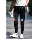 New Stylish Printed Zip Embellished Drawstring Waist Black Mens Casual Sweatpants Track Pants
