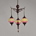 3 Lights Lantern Chandelier Moroccan Stained Glass Pendant Lighting in White/Yellow
