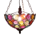 Single Light Domed Shape Pendant Lamp Antique Multi Color Crystal Pendant Lighting for Dinging Room
