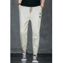 Men's Chinese Style Embroidered Drawstring Waist Linen Casual Tapered Trousers Pants
