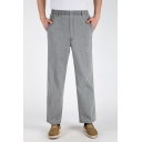 Mens Chinese Style Simple Plain Elastic Waist Casual Linen Straight Pants Trousers