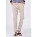 Men's Fashion Breathable Simple Plain Drawstring Waist Linen Casual Chino Trousers