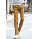 Mens New Fashion Plaid Printed Stretch Slim Fit Linen Chino Trousers
