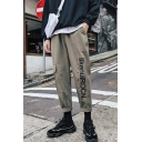 Guys Street Fashion Letter Printed Rolled Cuff Large Pocket Casual Straight Cargo Trousers