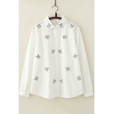 Cartoon Allover Rabbit Embroidered Long Sleeve Loose Cotton White Shirt