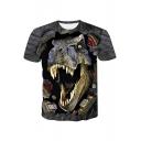 Men's Trendy 3D Dinosaur Pattern Short Sleeve Dark Grey Basic T-Shirt