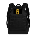 New Popular Number 6 Embroidery Velcro Patched Large Capacity USB Charging Backpack