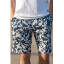 Trendy Allover Marine Organism Printed Drawstring Waist Quick-Dry Loose Beach Swim Shorts for Guys