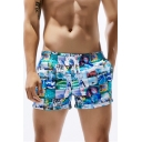 Summer Fashion Printed Drawstring Waist Breathable Quick-Dry Men's Beach Casual Swim Shorts