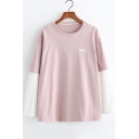 Hot Fashion Letter Pattern Colorblocked Round Neck Long Sleeve Leisure T-Shirt