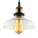 1 Light Brass/Black LED Single Pendant in Clear Shade