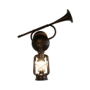 Single Light Lantern Sconce Vintage Metal Horn Decoration Wall Light in Bronze for Kitchen