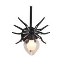Metal Spider Shape Wall Light Kids Room Single Light Industrial Led Sconce Light in Black