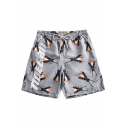 Guys Stylish Allover Ant Letter Printed Drawstring-Waist Grey Loose Fit Beach Swim Shorts