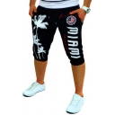 Hot Popular Drawstring-Waist Fashion Flag Letter Tree Printed Mens Sport Running Sweat Shorts