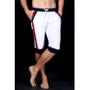 Men's New Trendy Drawstring Waist Fashion Color Block Striped Side Casual Sport Sweat Shorts