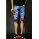 Summer Guys Unique Cartoon Printed Distressed Ripped Rolled Cuff Blue Casual Denim Shorts