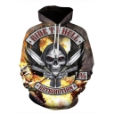 New Trendy Skull Letter RIDE TO HELL 3D Printed Long Sleeve Loose Fit Drawstring Hoodie