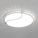 Acrylic Round Ceiling Light Fixture Modern LED Flush Mount Light in White/Warm for Bedroom