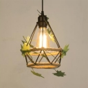 Antique Hanging Light with Diamond/Basket/Bell/Globe Single Light Metal and Rope Pendant Lighting