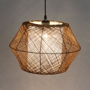 Outdoor Drum Drop Light Single Light Rattan Asian Brown Ceiling Pendant