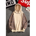 Fashion Houndstooth Printed Men's Long Sleeve Regular Fitted Pullover Hoodie