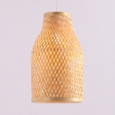 Rattan Bottle Pendant Light for Dinging Room Rustic Single Light Hanging Lamp in Beige/Black