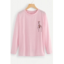 Lovely Hand Printed Round Neck Long Sleeve Pink T-Shirt