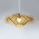 Beige/Coffee Saucer Pendant Light for Restaurant Rustic Style Single Light Rattan Hanging Lamp
